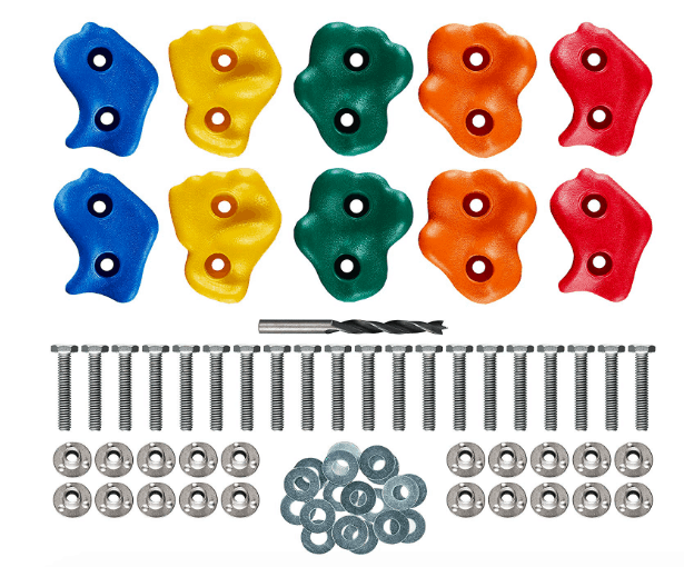"10 Assorted Deluxe Rock Climbing Holds for Kids :: Outdoor Climbing Stones Kit with 20 Swing Safe Fasteners + Drill Bit :: Easy to Install on Lumber from 3/4"" to 1.25"" Thick, by Pro-Hold"