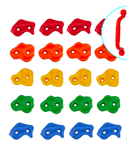 Pine View Playgrounds Kids Premium Rock Climbing Holds with Safety Handles | Extended 2 Inch Mounting Hardware for Childrens Playground Rock Wall | Playset Installation Guide IncludeD